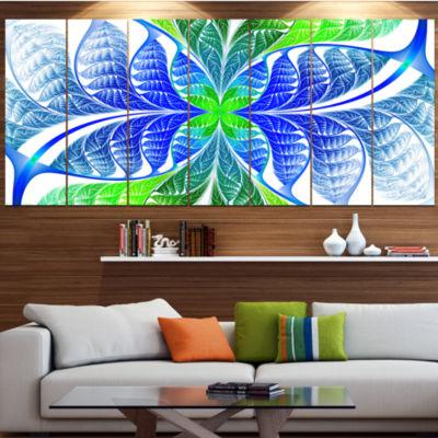 Designart Green Blue Fractal Glass Texture Abstract Canvas Art Print - 6 Panels
