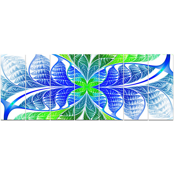 Designart Green Blue Fractal Glass Texture Abstract Canvas Art Print - 7 Panels