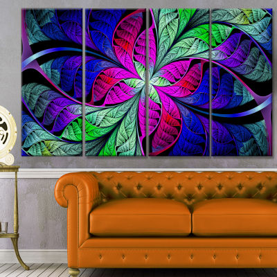Multi Color Stained Glass Texture Abstract CanvasArt Print - 4 Panels