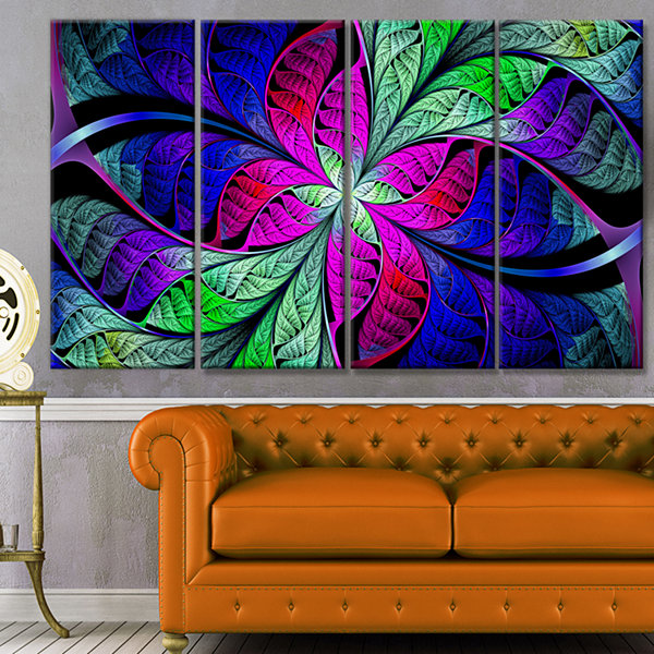 Design Art Multi Color Stained Glass Texture Abstract Canvas Art Print - 4 Panels