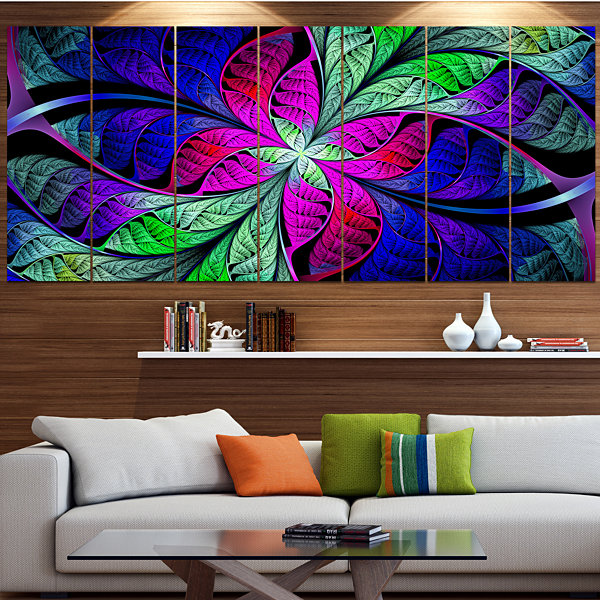 Designart Multi Color Stained Glass Texture Abstract Canvas Art Print - 5 Panels
