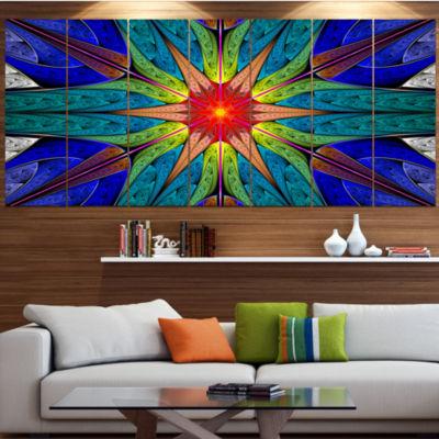 Budding Fractal Colorful Flower Contemporary Canvas Art Print - 5 Panels