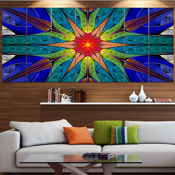 Design Art Budding Fractal Colorful Flower Abstract Canvas Art Print - 6 Panels
