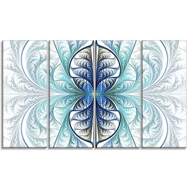 Designart Light Blue Stained Glass Texture Abstract Canvas Art Print - 4 Panels