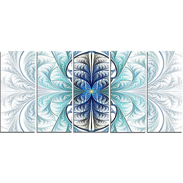 Designart Light Blue Stained Glass Texture Abstract Canvas Art Print - 5 Panels
