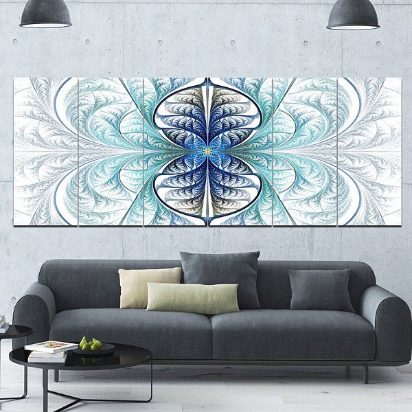 Designart Light Blue Stained Glass Texture Abstract Canvas Art Print - 6 Panels