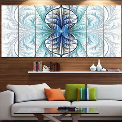 Designart Light Blue Stained Glass Texture Abstract Canvas Art Print - 7 Panels