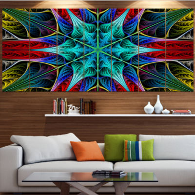 Designart Glowing Fractal Flower Layers AbstractCanvas Art Print - 4 Panels