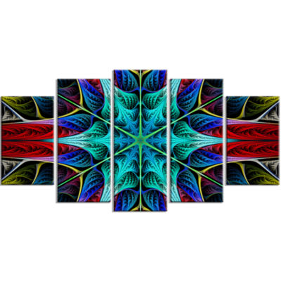 Glowing Fractal Flower Layers Contemporary CanvasArt Print - 5 Panels