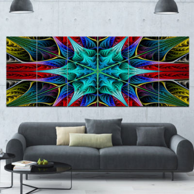 Glowing Fractal Flower Layers Abstract Canvas ArtPrint - 6 Panels