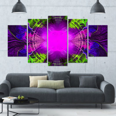 Pink Fractal Circles And Curves Contemporary Canvas Art Print - 5 Panels