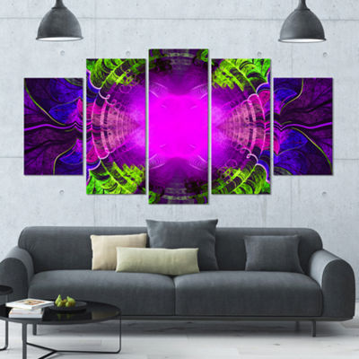 Designart Pink Fractal Circles And Curves Contemporary Canvas Art Print - 5 Panels