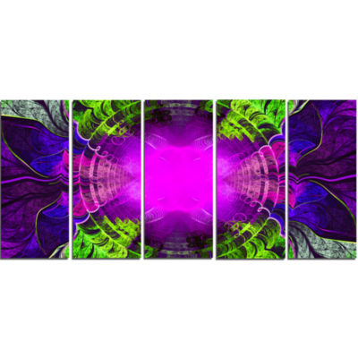 Pink Fractal Circles And Curves Abstract Canvas Art Print - 5 Panels