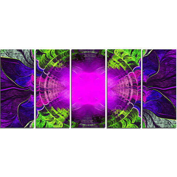 Designart Pink Fractal Circles And Curves AbstractCanvas Art Print - 5 Panels