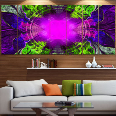 Designart Pink Fractal Circles And Curves AbstractCanvas Art Print - 7 Panels