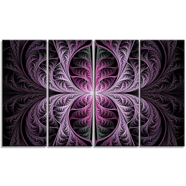 Design Art Purple Glowing Fractal Stained Glass Abstract Canvas Art Print - 4 Panels