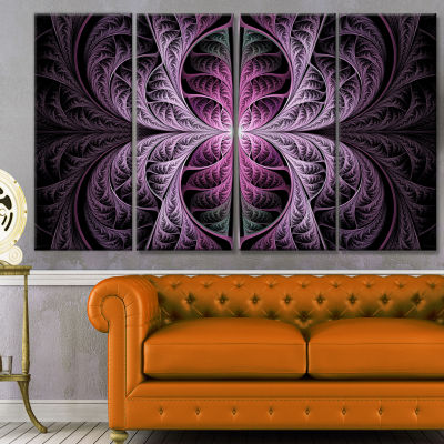Purple Glowing Fractal Stained Glass Abstract Canvas Art Print - 4 Panels