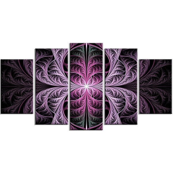 Designart Purple Glowing Fractal Stained Glass ContemporaryCanvas Art Print - 5 Panels