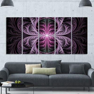 Designart Purple Glowing Fractal Stained Glass Abstract Canvas Art Print - 5 Panels