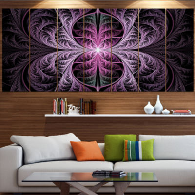 Designart Purple Glowing Fractal Stained Glass Abstract Canvas Art Print - 6 Panels