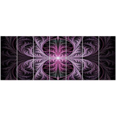 Designart Purple Glowing Fractal Stained Glass Abstract Canvas Art Print - 7 Panels