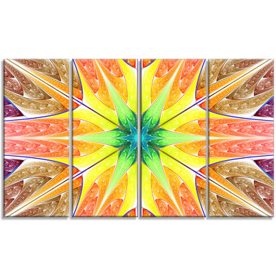 Yellow Glowing Fractal Texture Abstract Canvas ArtPrint - 4 Panels