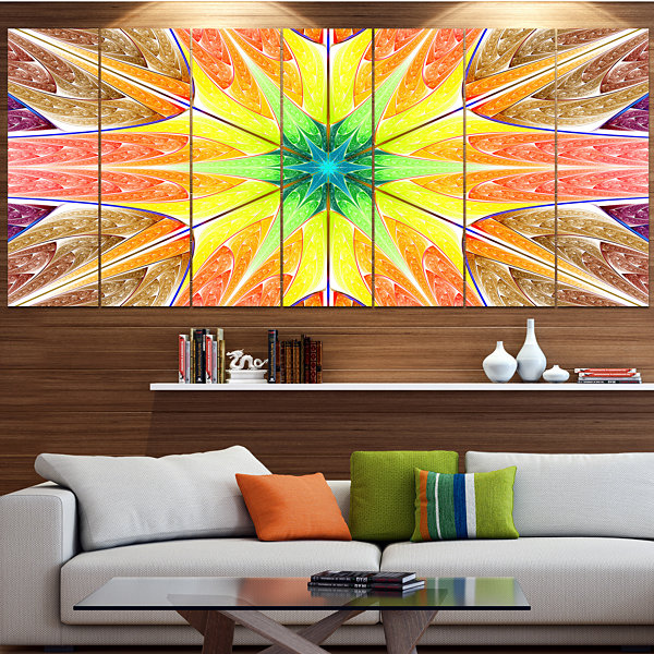 Designart Yellow Glowing Fractal Texture AbstractCanvas Art Print - 4 Panels