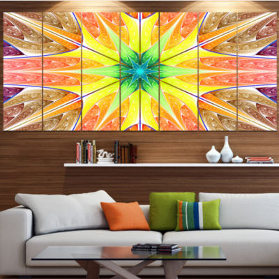 Designart Yellow Glowing Fractal Texture AbstractCanvas Art Print - 5 Panels
