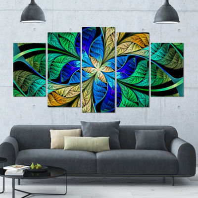 Designart Blue Green Fractal Flower Petals Contemporary Canvas Art Print - 5 Panels