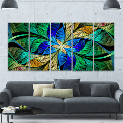 Designart Blue Green Fractal Flower Petals Abstract Canvas Art Print - 5 Panels