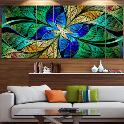 Designart Blue Green Fractal Flower Petals Abstract Canvas Art Print - 6 Panels