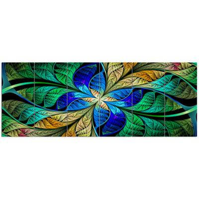 Designart Blue Green Fractal Flower Petals Abstract Canvas Art Print - 6 Panels