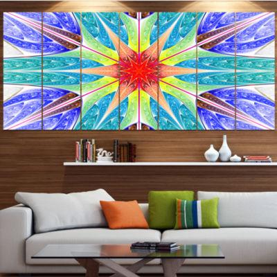 Designart Extraordinary Fractal Blue Design Abstract Canvas Art Print - 4 Panels