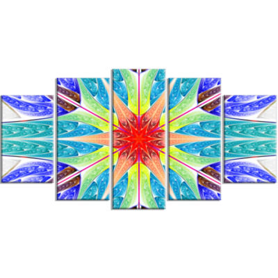 Extraordinary Fractal Blue Design Contemporary Canvas Art Print - 5 Panels