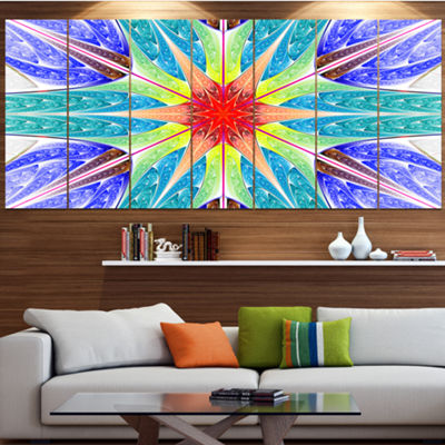 Designart Extraordinary Fractal Blue Design Abstract Canvas Art Print - 7 Panels