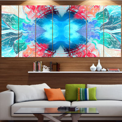 Designart Extraordinary Fractal Blue Texture Abstract Canvas Art Print - 6 Panels