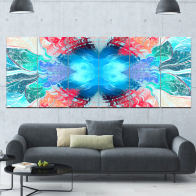 Extraordinary Fractal Blue Texture Abstract CanvasArt Print - 6 Panels