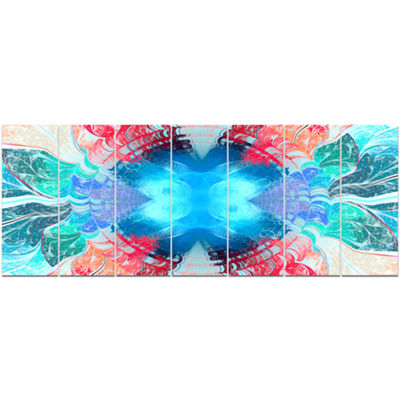 Designart Extraordinary Fractal Blue Texture Abstract Canvas Art Print - 7 Panels