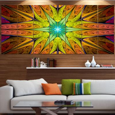 Designart Extraordinary Fractal Yellow Design Abstract Canvas Art Print - 4 Panels