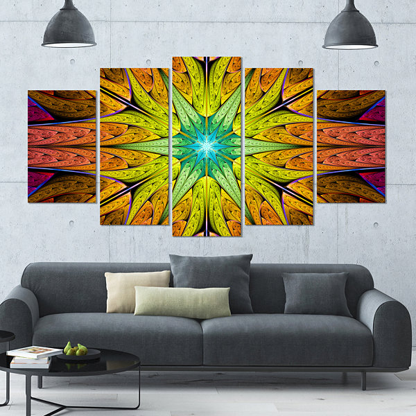 Design Art Extraordinary Fractal Yellow Design Contemporary Canvas Art Print - 5 Panels