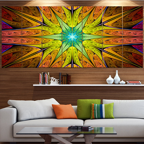 Designart Extraordinary Fractal Yellow Design Abstract Canvas Art Print - 5 Panels