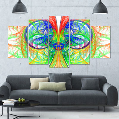 Designart Extraordinary Fractal Green Design Contemporary Canvas Art Print - 5 Panels