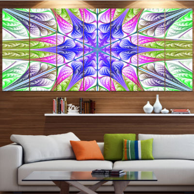 Designart Extraordinary Fractal Light Green Art Abstract Canvas Art Print - 5 Panels