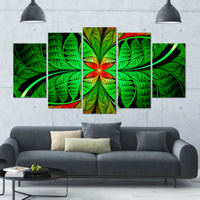 Designart Fractal Green Leaf Design ContemporaryCanvas Art Print - 5 Panels