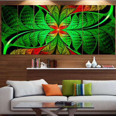 Designart Fractal Green Leaf Design Abstract Canvas Art Print - 7 Panels