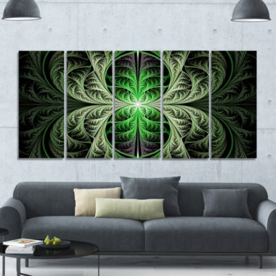 Fabulous Green Fractal Texture Abstract Canvas ArtPrint - 5 Panels