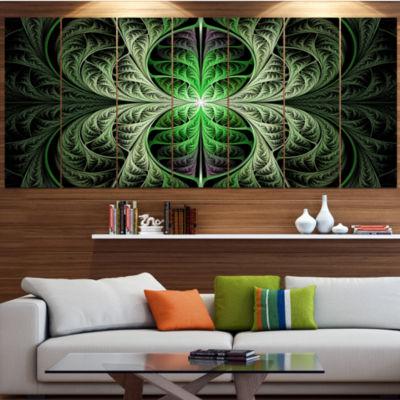 Designart Fabulous Green Fractal Texture AbstractCanvas Art Print - 6 Panels