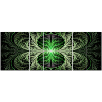 Fabulous Green Fractal Texture Abstract Canvas ArtPrint - 7 Panels