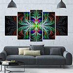 Designart Fabulous Blue Fractal Texture Contemporary Canvas Art Print - 5 Panels