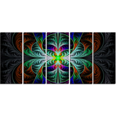 Fabulous Blue Fractal Texture Abstract Canvas ArtPrint - 5 Panels